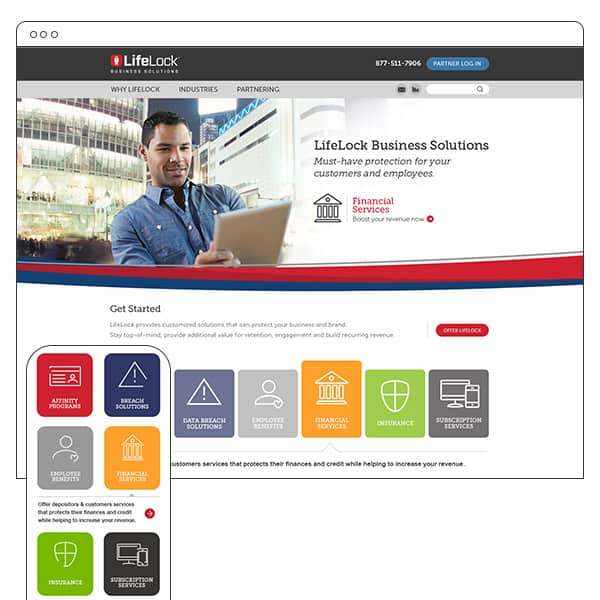 LifeLock business solutions website